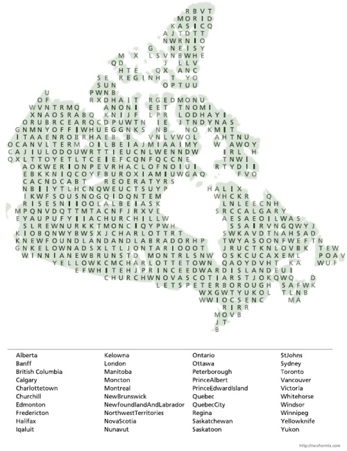 Search Canada Map Word Search: Canada Map