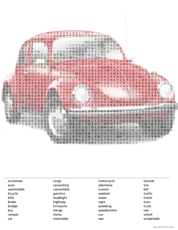 Shaped Word Search Vehicles - Classic car search